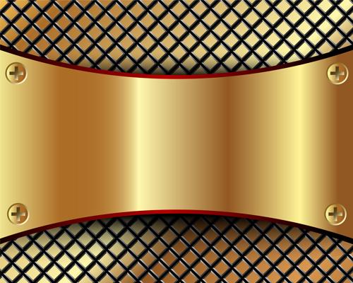 Abstract metallic golden background vector 02