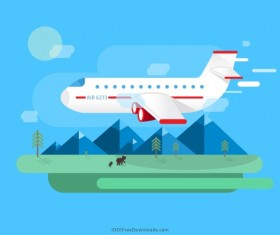 Airplane with travel vector material