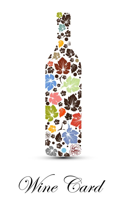 Art wine bottle background vector material 01