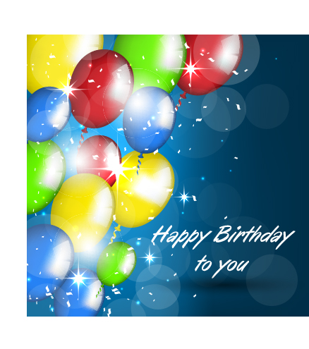 Balloons With Confetti Happy Birthday Cards Vector 01 Free Download