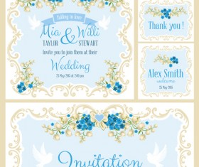 Beautiful flower wedding cards vecors 01