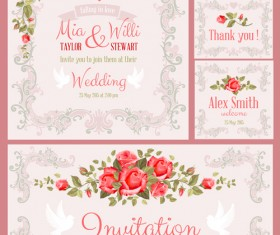 Beautiful flower wedding cards vecors 02