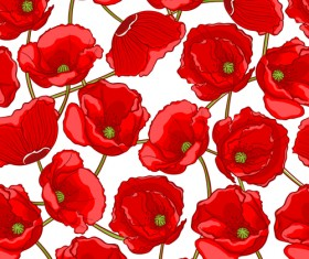 Beautiful poppy seamless pattern set vector 01