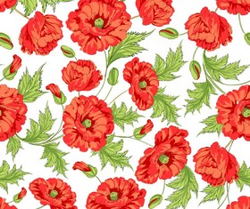Beautiful poppy seamless pattern set vector 02
