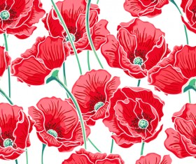 Beautiful poppy seamless pattern set vector 03