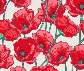 Beautiful poppy seamless pattern set vector 04