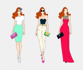Beautiful with fashion models vector material 04