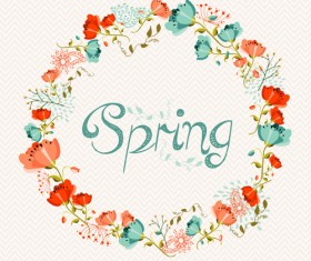 Beautiful wreath spring vector background