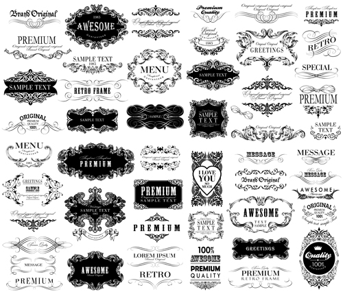 Black vintage ornaments with labels and ribbon vector 01