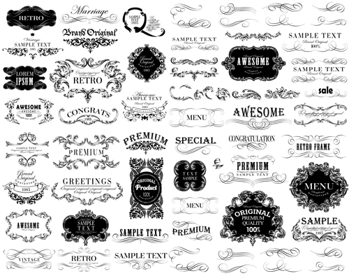 Black vintage ornaments with labels and ribbon vector 02