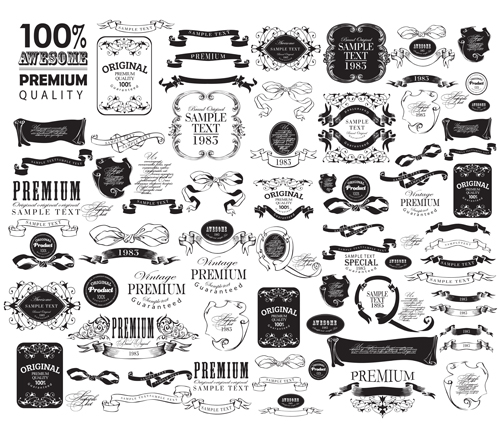 Black vintage ornaments with labels and ribbon vector 03