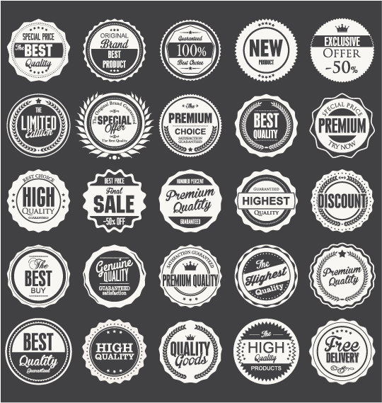 Black with white premium quality labels vector 01
