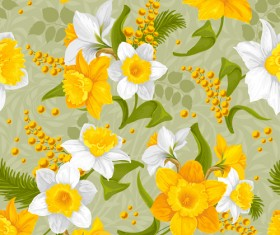 Bright flowers design vector seamless pattern 02
