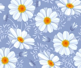 Bright flowers design vector seamless pattern 03