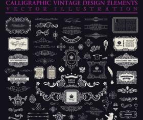 Calligraphic decor vintage elements vector 05