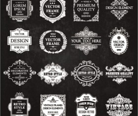 Calligraphic frames with decor elements vintage styles vector 08