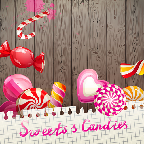 candy with sweet shop background vector 04