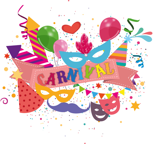 Carnival confetti art background vector 02