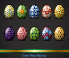 Circle floral pattern easter egg vector