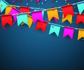 Colored flag with confetti holiday background 04