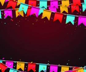 Colored flag with confetti holiday background 05