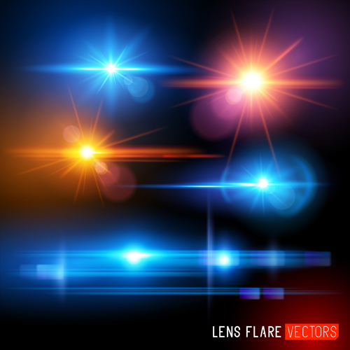 Colored light special effects vectors set 01