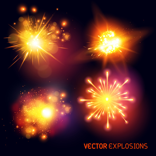 Colored light special effects vectors set 02