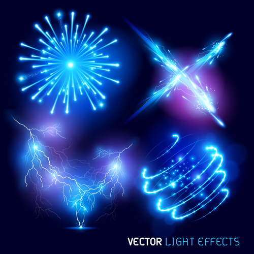 Colored light special effects vectors set 03