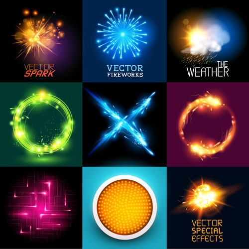 Colored light special effects vectors set 04