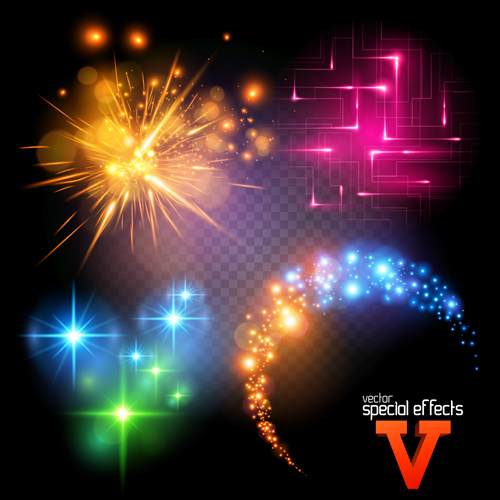 Colored light special effects vectors set 05
