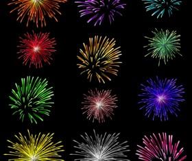 Colorful fireworks holiday illustration vector set 02