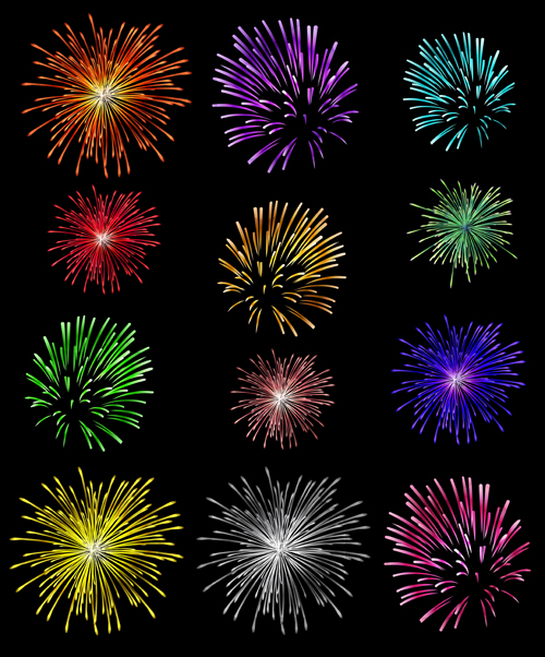 Colorful fireworks holiday illustration vector set 02