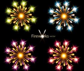 Colorful fireworks holiday illustration vector set 03