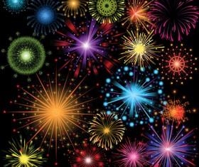 Colorful fireworks holiday illustration vector set 05