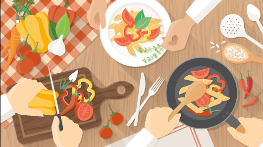 Creative cooking design background vectors 05