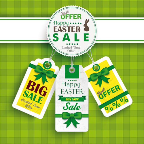 Creative easter sale tags vectors 01