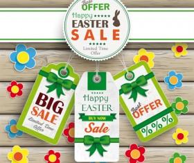 Creative easter sale tags vectors 02