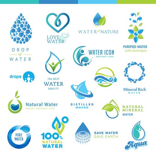 Creative water logos design material 01 - Vector Logo free ...