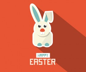 Cute animal with easter cards vector 02