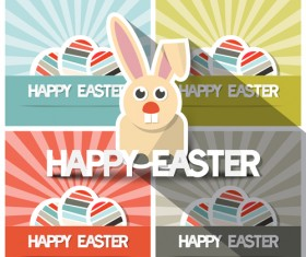 Cute animal with easter cards vector 03