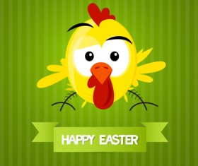 Cute animal with easter cards vector 04