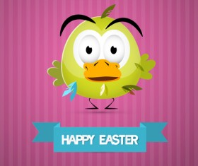 Cute animal with easter cards vector 05