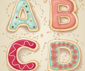 Cute cookies alphabet vector material 01