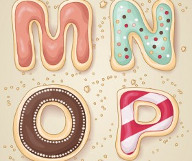 Cute cookies alphabet vector material 04