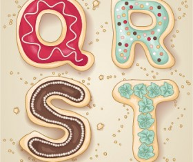 Cute cookies alphabet vector material 05