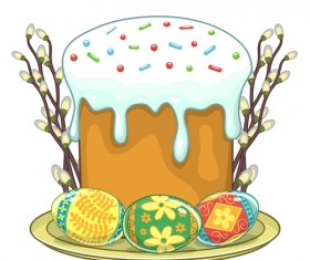 Cute easter cake vector design graphics 01