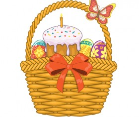 Cute easter cake vector design graphics 02