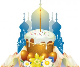 Cute easter cake vector design graphics 03