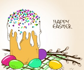 Cute easter cake vector design graphics 04
