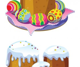 Cute easter cake vector design graphics 06